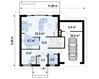 Каркасно-щитовой дом К139м
