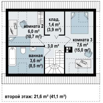 Каркасно-щитовой дом К84м