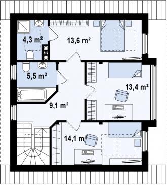 Каркасно-щитовой дом К122м