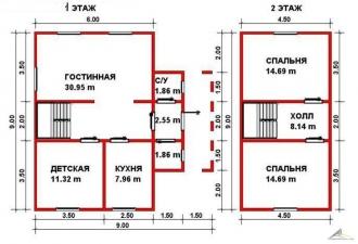 Дом из проф. бруса №38